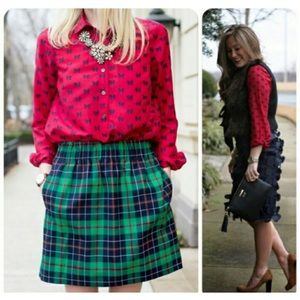 J. Crew red pullover top with bow print